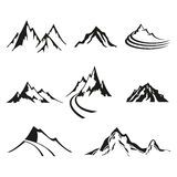 Vector set of isolate logos of mountains, black silhouettes on white background. Royalty Free Stock Images