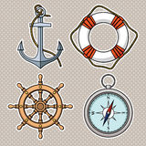 Vector set with isolated anchor, lifebuoy, ships wheel, compass. Stock Photography