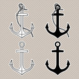 Vector set with isolated anchors. Black and white Royalty Free Stock Photo