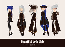 Vector set with isolated on background gothic girls. Goth clothes in dark colors, with different accessories, various hairstyle an royalty free illustration