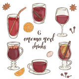 Vector set of 6 isolated cartoon hand drawn aroma. Red drinks stock illustration