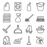 Vector set of isolated cleaning icon. White background. Royalty Free Stock Image