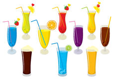 Vector set of isolated colorful, fresh, fruit juices, alcohol cocktails, beer and cola. Stock Photography