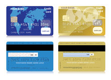 Vector set of isolated credit cards Royalty Free Stock Image