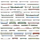 Vector set of isolated deatiled icons of  railway trains, railcars, waggons and vans.  stock illustration