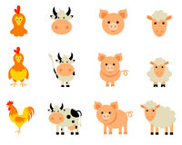 Vector Set of isolated Farm Animals. Set of flat design compositions with farm animals stock illustration