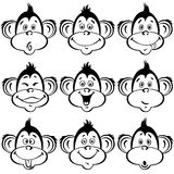 Vector set with isolated funny faces monkeys. Can be elements fo. Cute cartoon monkey. Elements for design, can be seamless pattern royalty free illustration