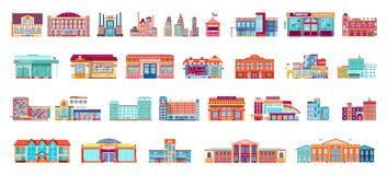 Vector set isolated icons architecture buildings in flat style. Vector set isolated icons architecture buildings structures bank, pharmacy, school, office Royalty Free Stock Photo