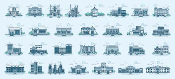Vector set isolated icons architecture buildings linear style. Vector set isolated icons architecture buildings structures bank, pharmacy, school, office Royalty Free Stock Images