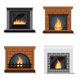 Vector set of isolated icons of cozy fireburning fireplace royalty free illustration