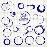 Vector set of isolated ink stain ring. Royalty Free Stock Photos