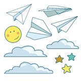 Vector set with isolated paper planes, stars, moon, clouds. Royalty Free Stock Photography