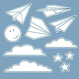 Vector set with isolated paper planes, stars, moon, clouds. Stock Images