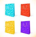 Vector set with isolated pockets  Ornamental paper-bag  Pack, package, parcel Royalty Free Stock Photos