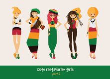 Vector set with isolated rasta girls. Rastafarian clothes in bright colors, ethnic accessories, music instruments. Smiling charact Stock Photography