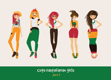 Vector set with isolated rasta girls. Rastafarian clothes in bright colors, ethnic accessories, various hairstyle and posing. Smil Royalty Free Stock Image