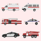Vector set of the isolated transport icons. Fire truck, ambulance, police car stock illustration