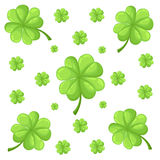 Vector set isolated on white background clover leaves. Silhouettes of four and three leaf clover. Lucky leaf clover in flat style. Vector set isolated on white Stock Photography