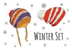 Vector set of isolated winter accessories Royalty Free Stock Photos