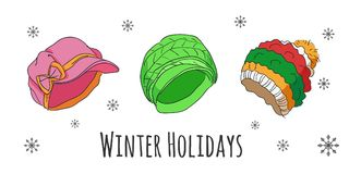 Vector set of isolated winter accessories Stock Images