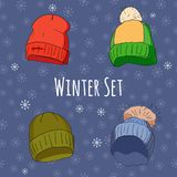 Vector set of isolated winter accessories Stock Photography