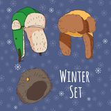 Vector set of isolated winter accessories Stock Photo