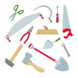 Vector set of isolated working tools. Planer and an ax, a hammer and a saw, hacksaw and shovel, screwdriver and pliers Stock Images
