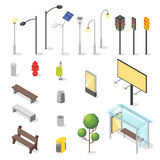 Vector set of isometric city objects. Stock Image