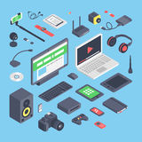 Vector set of isometric computer devices icons. Wireless technologies isometric computer devices icons set with mobile communication devices 3d.Isometric Royalty Free Stock Photography