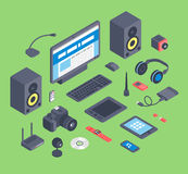 Vector set of isometric computer devices icons. Wireless technologies isometric computer devices icons set with mobile communication devices 3d.Isometric Stock Photos