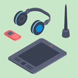 Vector set of isometric computer devices icons wireless technologies mobile communication 3d illustration. Digital electronic technology design Stock Images