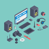 Vector set of isometric computer devices icons wireless technologies mobile communication 3d illustration. Digital electronic technology design Stock Photos