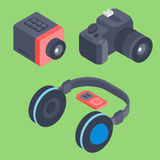 Vector set of isometric computer devices icons wireless technologies mobile communication 3d illustration. Digital electronic technology design Stock Photo