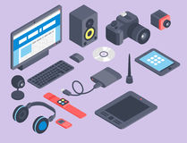 Vector set of isometric computer devices icons wireless technologies mobile communication 3d illustration. Digital electronic technology design Royalty Free Stock Photography