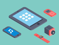 Vector set of isometric computer devices icons wireless technologies mobile communication 3d illustration. Digital electronic technology design Royalty Free Stock Photo