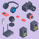Vector set of isometric computer devices icons wireless technologies mobile communication 3d illustration. Digital electronic technology design Stock Photography
