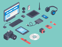 Vector set of isometric computer devices icons wireless technologies mobile communication 3d illustration. Digital electronic technology design Royalty Free Stock Image