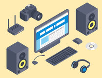 Vector set of isometric computer devices icons wireless technologies mobile communication 3d illustration. Digital electronic technology design Stock Image