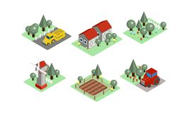Vector set of isometric farm icons. Tractors, field with harvest, wooden barns, windmill and garden. Agricultural royalty free illustration