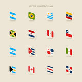 Vector set of isometric flags of Argentina, Brazil, Uruguay, Ven Stock Images