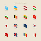 Vector set of isometric flags in simple style of European Union, Stock Image