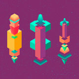 Vector set of isometric flat cubes constructor, abstract shapes Royalty Free Stock Photos