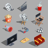 Vector set of isometric illustrations making movies and watching a movie in the cinema. Design elements Stock Photography