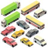 Vector set of isometric urban transportation, cars Royalty Free Stock Photo