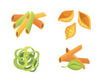 Vector set Italian pasta in cartoon style. Different types and shapes of macaroni with. Ravioli, spaghetti, tortiglioni Stock Photography