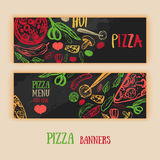 Vector set of italian pizza banners. Hand drawn horizontal banners posters Stock Image