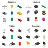 Vector set of izometric electronic components. Capacitors, diode. Vector set of izometric electronic components. Collection of capacitors, diodes, transistors Royalty Free Stock Images
