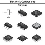 Vector set of izometric electronic components. Microchips. Royalty Free Stock Photos