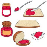 Vector set of jam and bread. Hand drawn cartoon, doodle illustration stock illustration