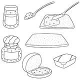 Vector set of jam and bread. Hand drawn cartoon, doodle illustration royalty free illustration